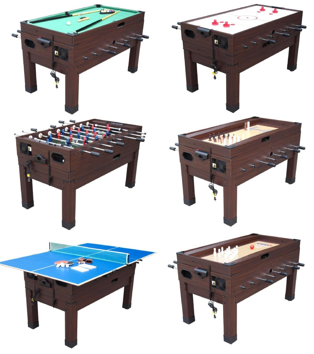 Pool Table Air Hockey Ping Pong Combo 13 in 1 Combination Game Table in Espresso - Combination Tables ...